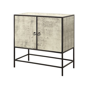 Antiqued Mirror Glass and Steel Two Door Cabinet