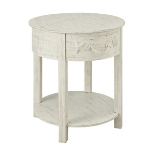 White Rub One Drawer Accent Table