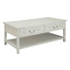 White Rub Two Drawer Cocktail Table