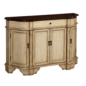 Cream and Dark Brown Four Door One Drawer Credenza