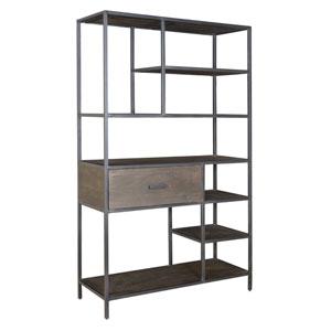 Brown, Black One Drawer Bookcase