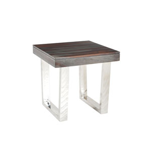 Graywash Stainless Steel Base Grayson End Table