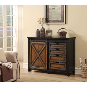 Four Drawer One Sliding Door Media Cabinet, Barnhill Black and Brown