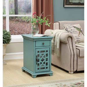 One Drawer One Door Chairside Cabinet, Bayberry Blue Rub-through