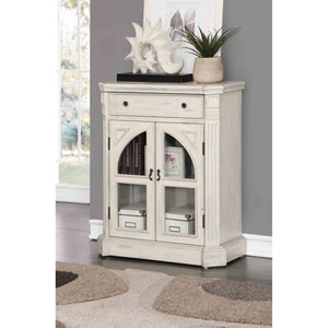 One Drawer Two Door Cabinet, Colonial White Rub