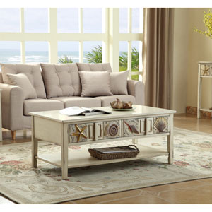 Surfside Two Drawer Cocktail Table, Shoals Distressed Sand