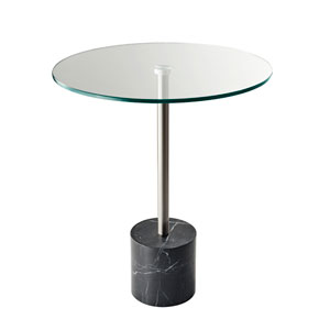 Blythe Steel and Black Marble End Table
