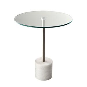 Blythe Steel and White Marble End Table