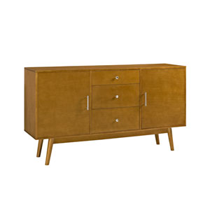 60-Inch Mid Century Modern Acorn Wood TV Stand