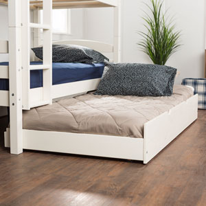 Solid Wood Twin Trundle Bed Only (bunk beds sold separately) - White
