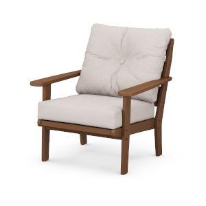 Lakeside Teak and Dune Burlap Deep Seating Chair