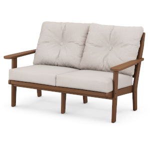 Lakeside Teak and Dune Burlap Deep Seating Loveseat