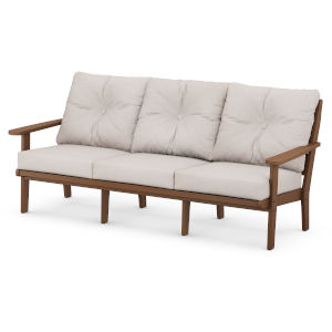 Lakeside Teak and Dune Burlap Deep Seating Sofa