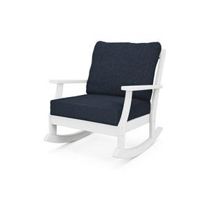 Braxton White and Marine Indigo Deep Seating Rocking Chair