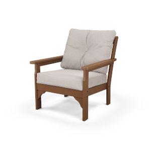 Vineyard Teak and Dune Burlap Deep Seating Chair