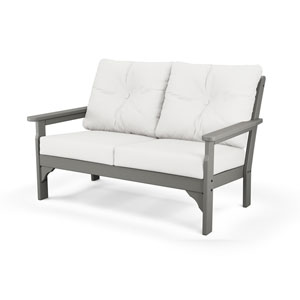 Vineyard Slate Grey and Natural Linen Deep Seating Settee