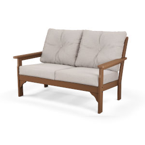 Vineyard Teak and Dune Burlap Deep Seating Settee
