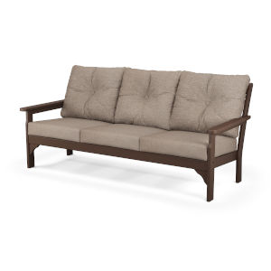 Vineyard Mahogany and Spiced Burlap Deep Seating Sofa