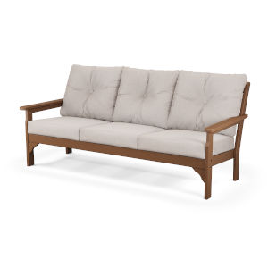 Vineyard Teak and Dune Burlap Deep Seating Sofa