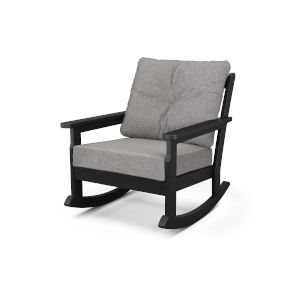 Vineyard Black and Grey Mist Deep Seating Rocking Chair