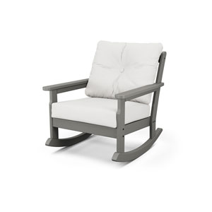 Vineyard Slate Grey and Natural Linen Deep Seating Rocking Chair
