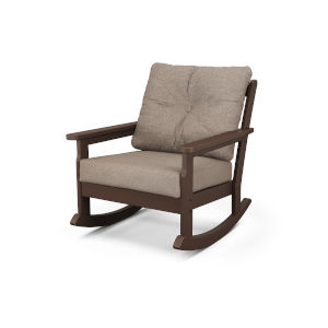 Vineyard Mahogany and Spiced Burlap Deep Seating Rocking Chair