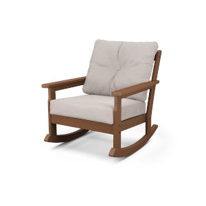 Vineyard Teak and Dune Burlap Deep Seating Rocking Chair