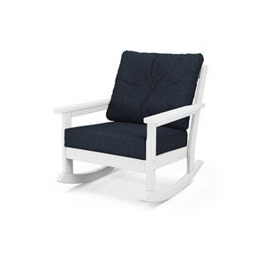 Vineyard White and Marine Indigo Deep Seating Rocking Chair
