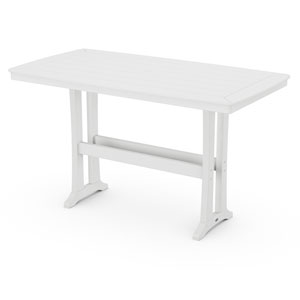 Nautical Trestle White 38-Inch x 73-Inch Bar Table