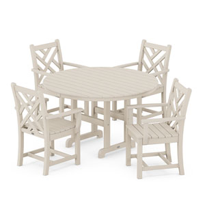 Chippendale Sand Round Arm Chair Dining Set, 5-Piece