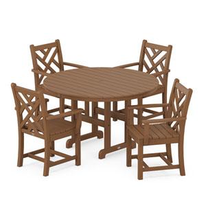 Chippendale Teak Round Arm Chair Dining Set, 5-Piece