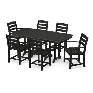 La Casa Cafe Black Dining Set with Rectangular Table, 7-Piece