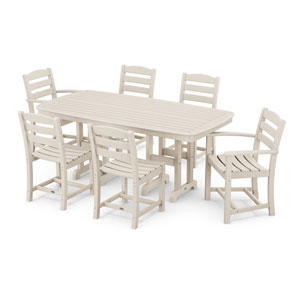 La Casa Cafe Sand Dining Set with Rectangular Table, 7-Piece