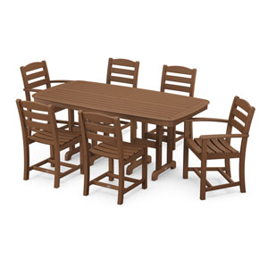 La Casa Cafe Teak Dining Set with Rectangular Table, 7-Piece