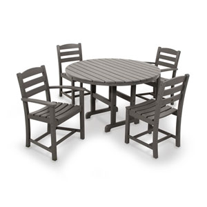 La Casa Cafe Slate Grey Dining Set with Round Table, 5-Piece
