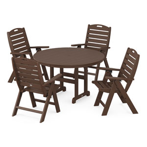 Nautical Mahogany Dining Set, 5-Piece