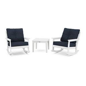 Vineyard White and Marine Indigo Deep Seating Rocker Set, 3-Piece