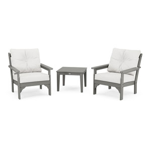 Vineyard Slate Grey and Natural Linen Deep Seating Set, 3-Piece