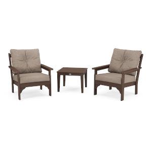 Vineyard Mahogany and Spiced Burlap Deep Seating Set, 3-Piece