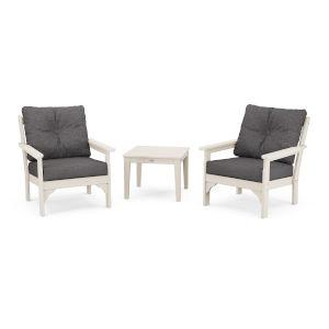 Vineyard Sand and Ash Charcoal Deep Seating Set, 3-Piece