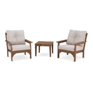 Vineyard Teak and Dune Burlap Deep Seating Set, 3-Piece