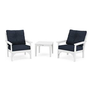 Vineyard White and Marine Indigo Deep Seating Set, 3-Piece