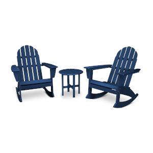 Vineyard Navy Adirondack Rocking Chair Set, 3-Piece