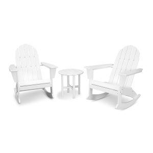 Vineyard White Adirondack Rocking Chair Set, 3-Piece