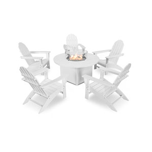 Vineyard White Adirondack Chat Set with Fire Pit Table, 6-Piece