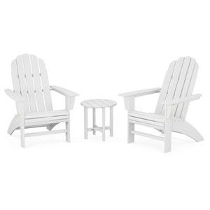 Vineyard White Curveback Adirondack Set, 3-Piece