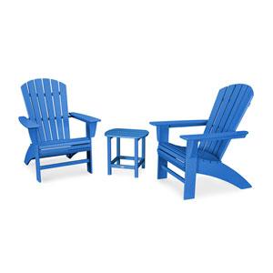 Nautical Pacific Blue Curveback Adirondack Set, 3-Piece