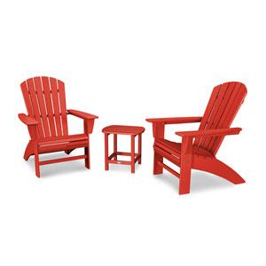 Nautical Sunset Red Curveback Adirondack Set, 3-Piece