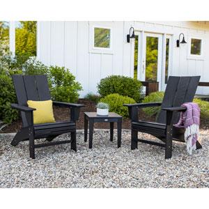 Black Modern Curveback Adirondack Set, 3-Piece