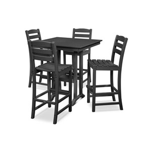 La Casa Cafe Farmhouse Trestle Black Bar Set, 5-Piece